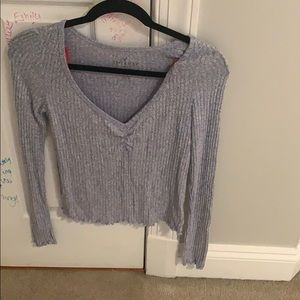 Soft and sexy blue ribbed long sleeve